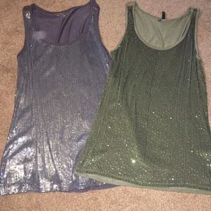 Set of 2 sparkly tanks